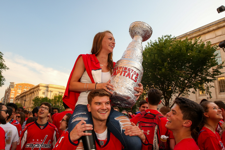 The fifth game of the Stanley Cup is being hosted in{ }Las Vegas, but thousands of Caps fans have invaded downtown D.C. to watch the game. If the Caps win the game, they'd bring home the{ }Stanley Cup. (Amanda Andrade-Rhoades/DC Refined)