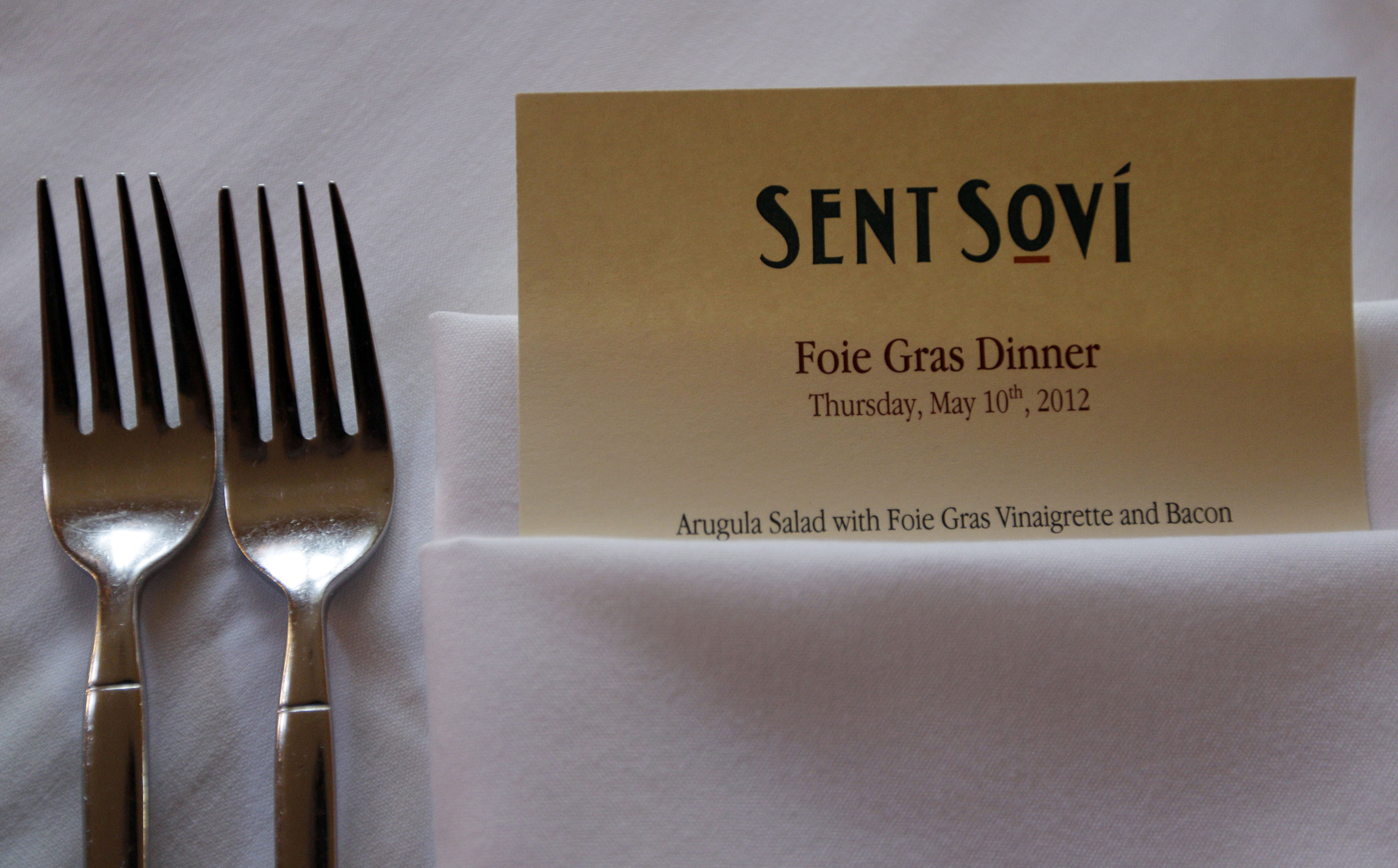 FILE - In this May 11, 2012, file photo, a foie gras-based menu is displayed at Sent Sovi restaurant in Saratoga, Calif.  (AP Photo/Marcio Jose Sanchez, File)