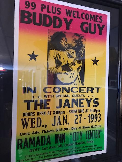 A poster from the early 1990s promoting a concert featuring legendary bluesman Buddy Guy and The Janey's, a Cedar Rapids blues band consisting of Billy Lee and Bryce Janey.