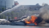 Boat sunk, another damaged after fire at Ashley Marina
