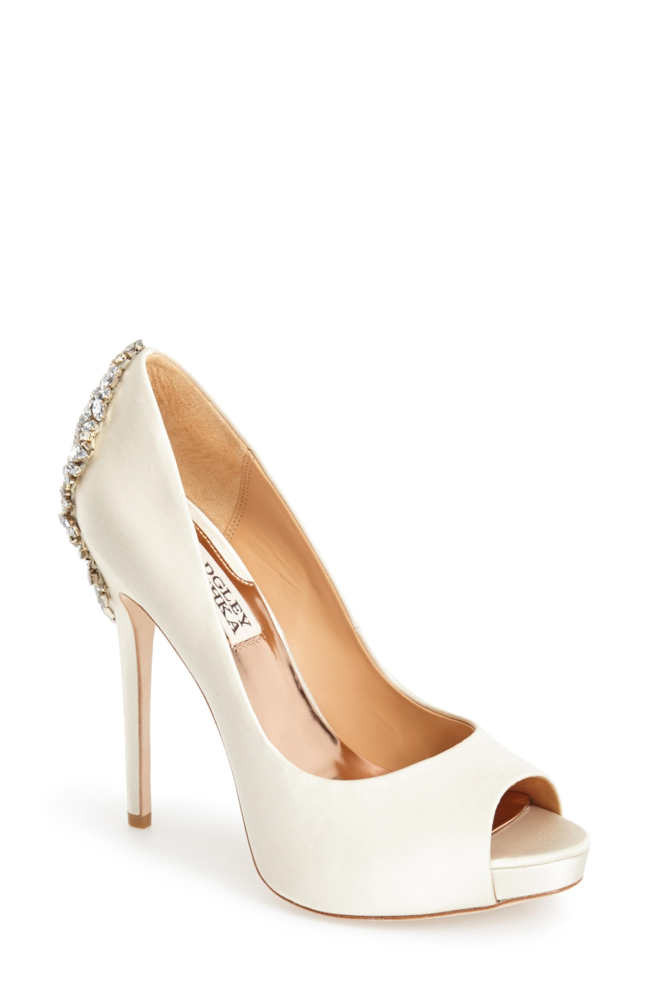 Badgley Mischka 'Kiara' Crystal Back Open Toe Pump, $245,  Nordstrom.com (Image: Courtesy Nordstrom)