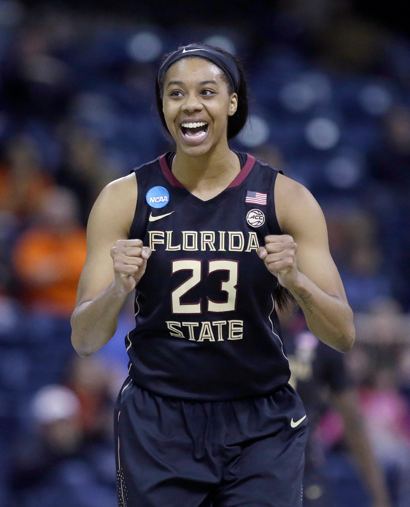 Florida State forward Ivey Slaughter smiles after scoring against Oregon State during the second half of a regional semi-final round game of an NCAA college basketball tournament, Saturday, March 25, 2017, in Stockton, Calif. Florida State won 66-53. (AP Photo/Rich Pedroncelli)