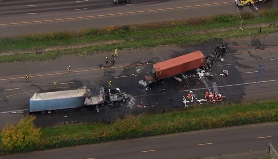Crash involving semi trucks blocks I-5 southbound in Woodburn - KATU image 3.jpg