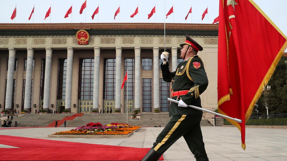 9 2017 file photo a member of the chinese military marches before the welcoming ceremony for president donald trump and chinese president xi jinping at