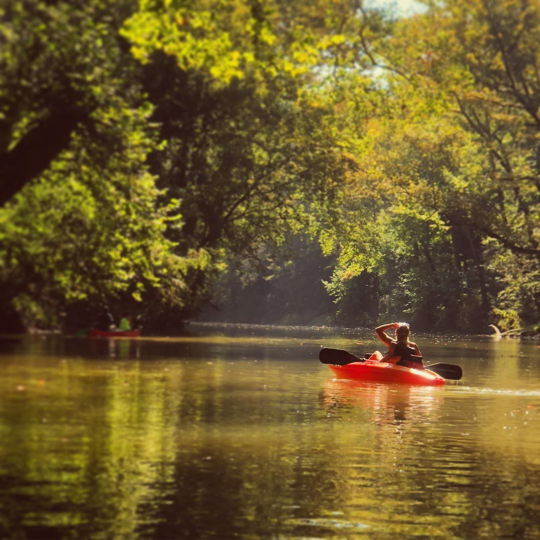 If you're a canoe enthusiast, chances are you probably own your own canoe. Bring it to boat the Blue River, which is 11 miles long and accessible from O'Bannon Woods State Park. Otherwise, you can head to Cave County Canoes and rent a kayak or canoe for a half-day, full-day, or 2-day trip. There are rapids, bridges, beaches, and forests giving it a lot of variety in just 11 miles. Your rental includes transportation to and from the river, maps, life jackets, and oars so all you have to bring is yourself and a lunch for the beach. / Image courtesy of Instagram user @rogals711, via Historic Corydon and Harrison County // Published: 7.22.19