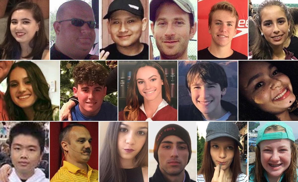 Photos of the 17 victims killed in the Parkland, Fla. school shooting on Feb. 14, 2018. (WPEC)