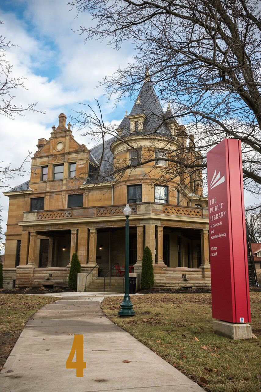 "#4 - The Brookline Library in Clifton is housed in the late George B. Cox's mansion. ""Boss"" Cox was a well known Cincinnati politician. Moreover, the home was designed by renowned architect Samuel Hannaford. / Image: Phil Armstrong, Cincinnati Refined"