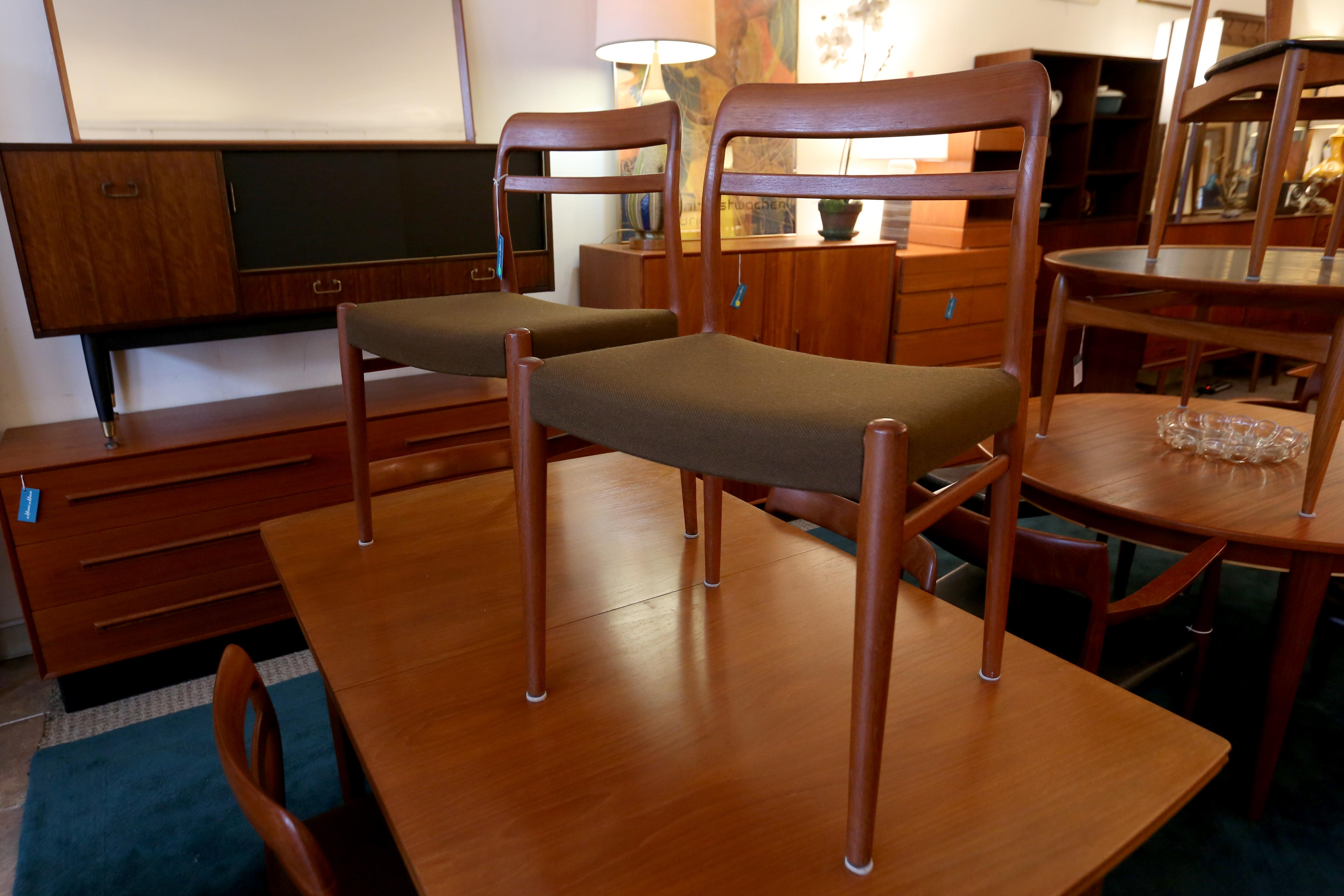 Norwegian teak dining chairs - $3,500, available at Modern Mobler. (Amanda Andrade-Rhoades/DC Refined)