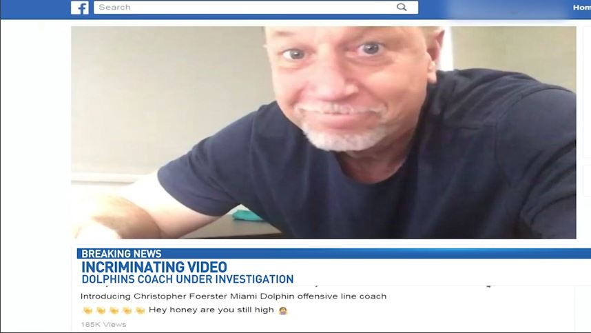 The offensive line coach for the Miami Dolphins, Chris Foerster, is under investigation for a Facebook video that may show him using cocaine. (WPEC)