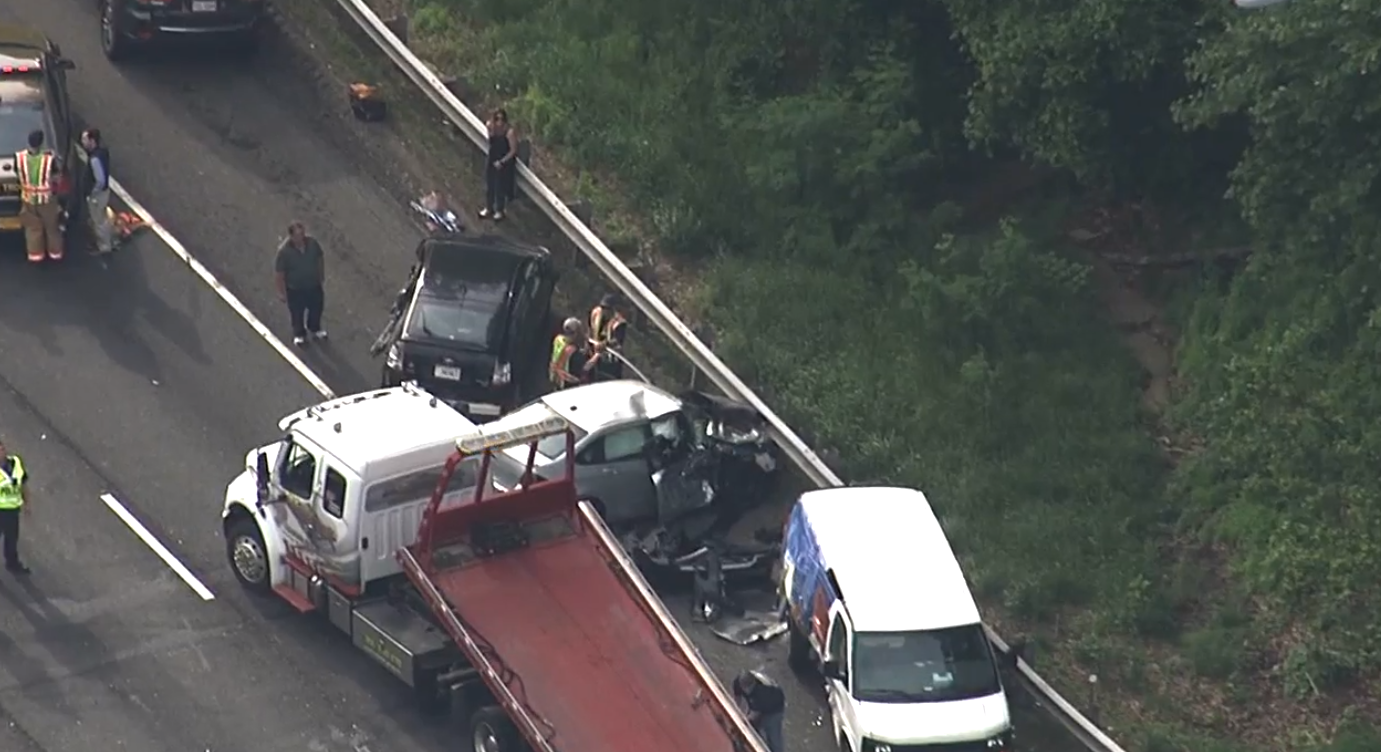 Six people have been injured in a multi-vehicle fiery crash on I-495 in Rockville.{ } Friday, May 17, 2019. (SkyTrak7){ }