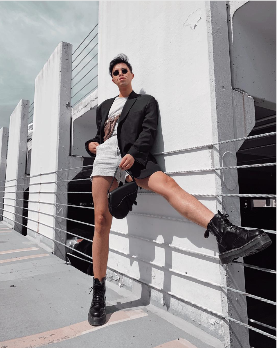 We all want to pretend winter is gone, but there are days when the weather is unpredictable. You can flash a little (or a lot) of leg with a statement jacket.  (Image courtesy of @theantoniomostajo)