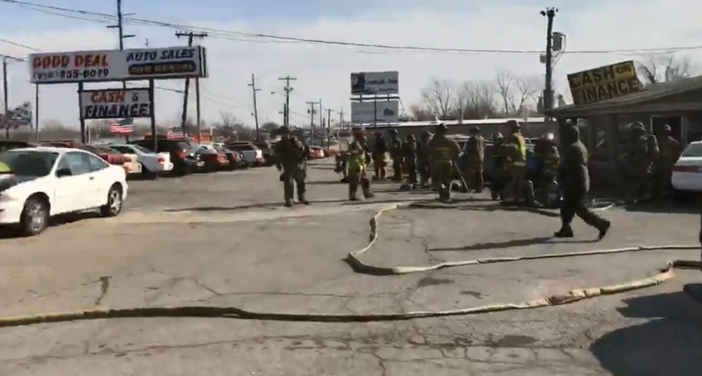Crews responded around 10:30 a.m. and found heavy smoke and flames coming from the building near 11th and Sheridan. (KTUL)