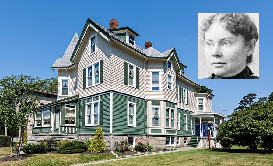 Maplecroft Mansion, final home of Lizzie Borden. House photo credit: Taylor and Associates at Mott and Chace Sotheby's International Realty. Lizzie Borden portrait via AP.