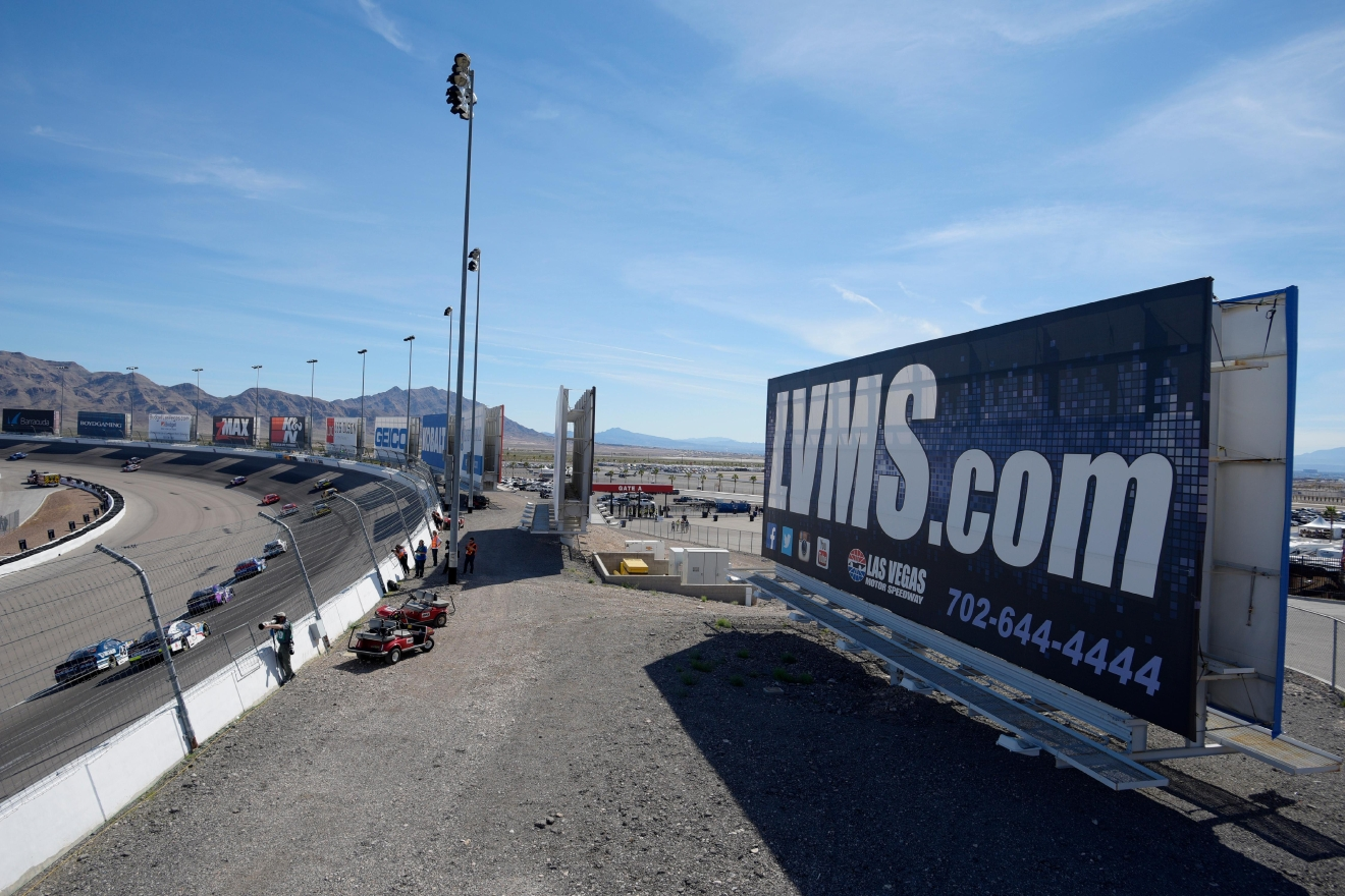 Drivers head through turn one during the NASCAR Xfinity Series Boyd Gaming 300 Saturday, March 11, 2017, at the Las Vegas Motor Speedway. (Sam Morris/Las Vegas News Bureau)