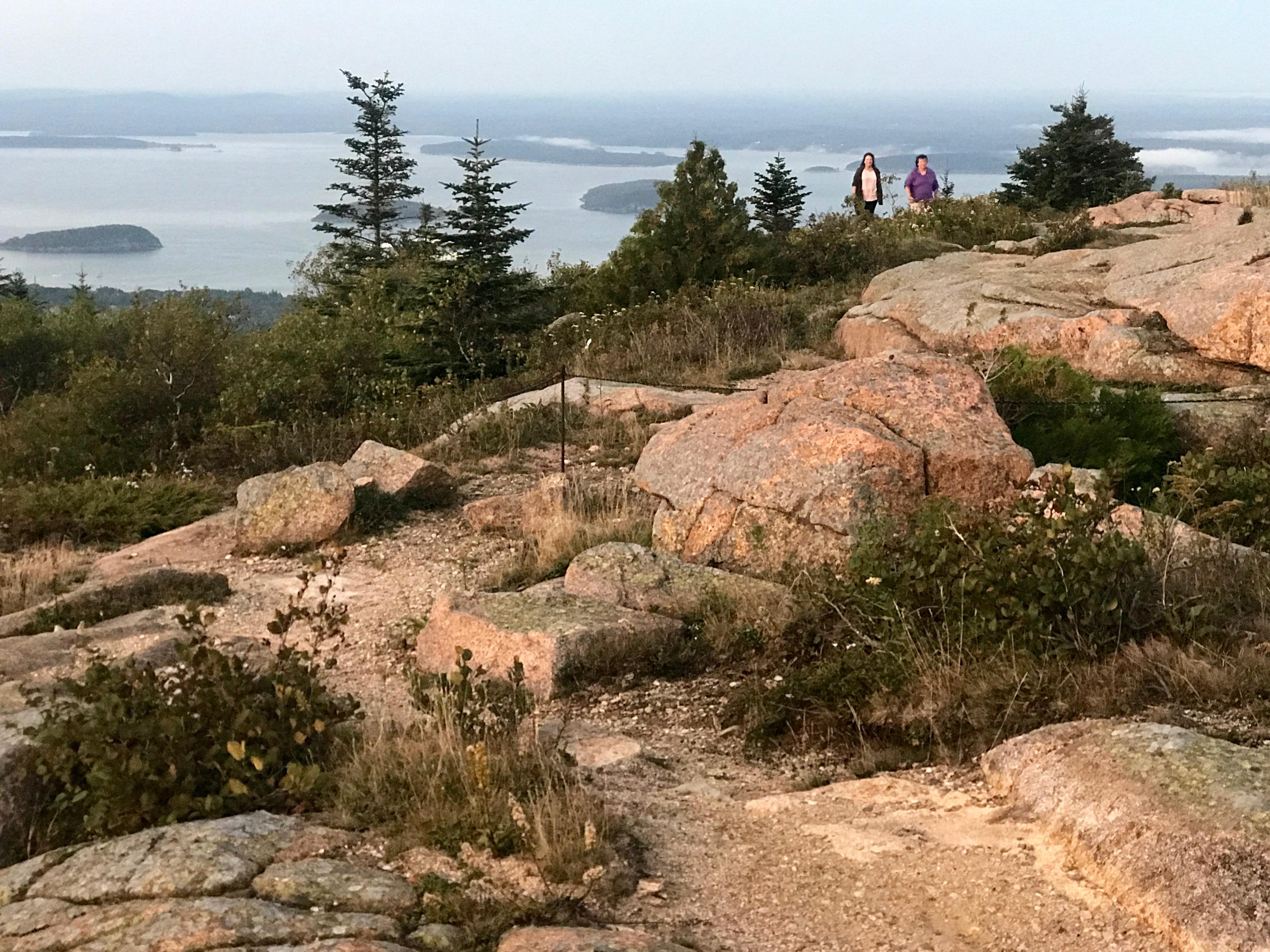 Tourists have an easy drive to the top of Cadillac Mountain, the highest point in Acadia National Park, though finding a place to park can be difficult. [Photo by Rick Holmes]