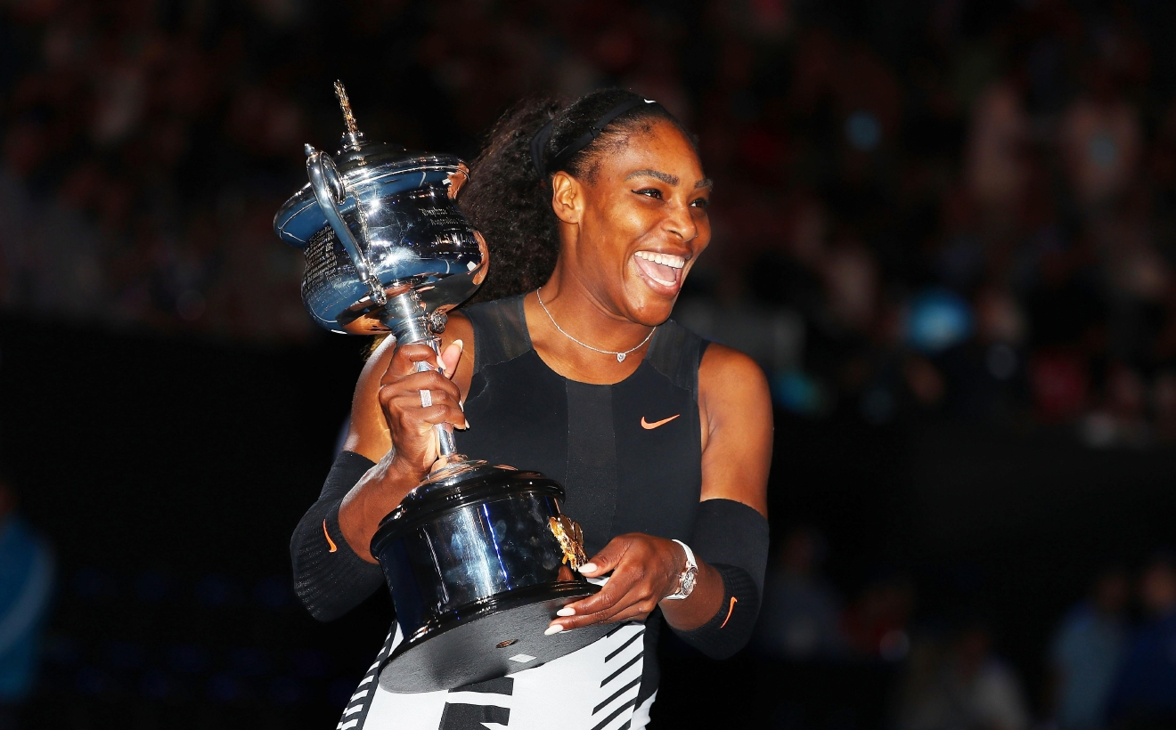 MELBOURNE, AUSTRALIA - JANUARY 28:  Serena Williams poses with the Daphne Akhurst Trophy after winning the Women's Singles Final against Venus Williams of the United States on day 13 of the 2017 Australian Open at Melbourne Park on January 28, 2017 in Melbourne, Australia.  (Photo by Scott Barbour/Getty Images)
