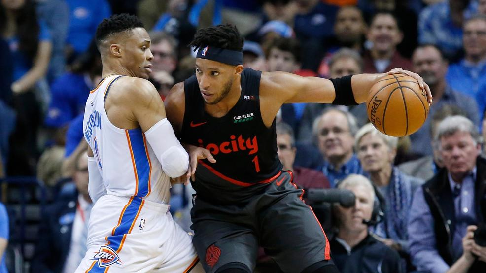 81d2dfeebdc84c Portland Trail Blazers guard Evan Turner (1) drives against Oklahoma City  Thunder guard Russell Westbrook