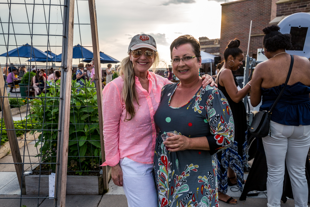 Tara Murdock and Rose Seeger. Rose designed and installed the rooftop garden at Rothenberg / Image: Catherine Viox