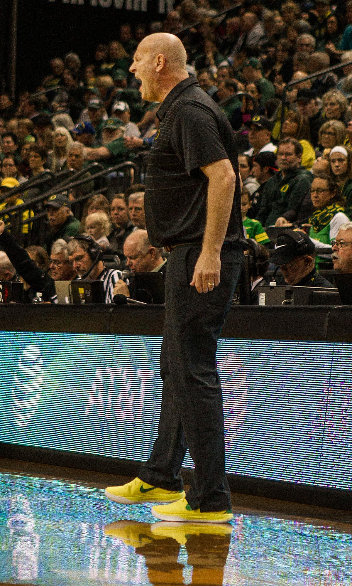 Oregon Ducks head coach Kelly Graves yells during the game after an unsettling call from the referees. The Oregon Ducks defeated the Washington Huskies 94-83 on Sunday at Matthew Knight Arena. The victory was Head Coach Kelly Graves' 500th career win. Sabrina Ionescu also set the new NCAA all time record of 8 triple doubles in just 48 games. The previous record was 7 triple doubles in 124 games, held by Susie McConnell at Penn State. The Ducks will next face off against USC on Friday January 5th in Los Angeles. Photo by Rhianna Gelhart, Oregon News Lab