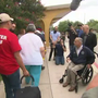 Gov Abbott stops by shelter at Kazen Middle School