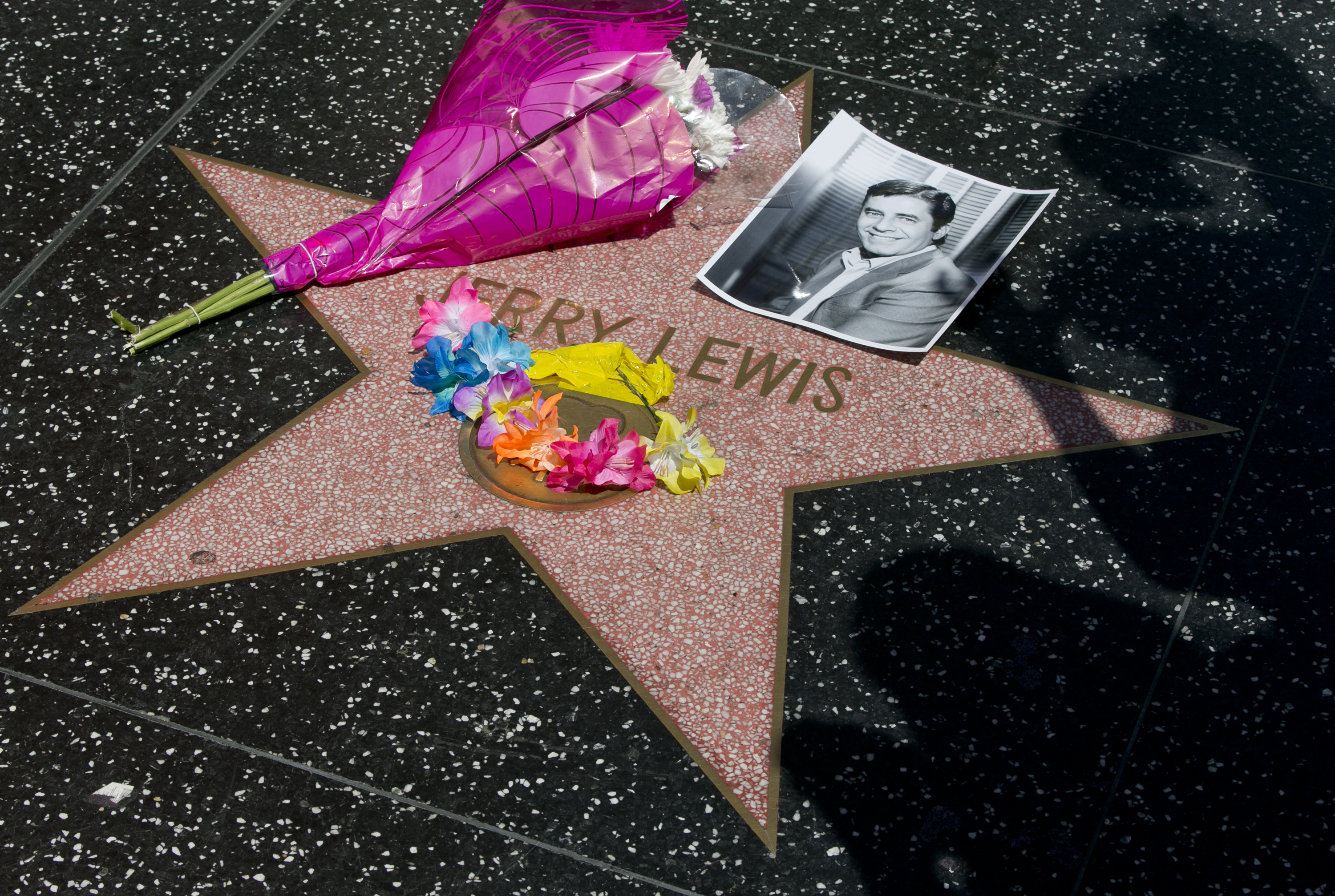 Flowers in memory of comedian Jerry Lewis lie on his star on the Hollywood Walk of Fame near the Dolby Theatre, in Los Angeles on Sunday, Aug. 20, 2017. Lewis, the comedian and director whose fundraising telethons became as famous as his hit movies, died Sunday in Las Vegas, according to his publicist. He was 91. (AP Photo/Damian Dovarganes)
