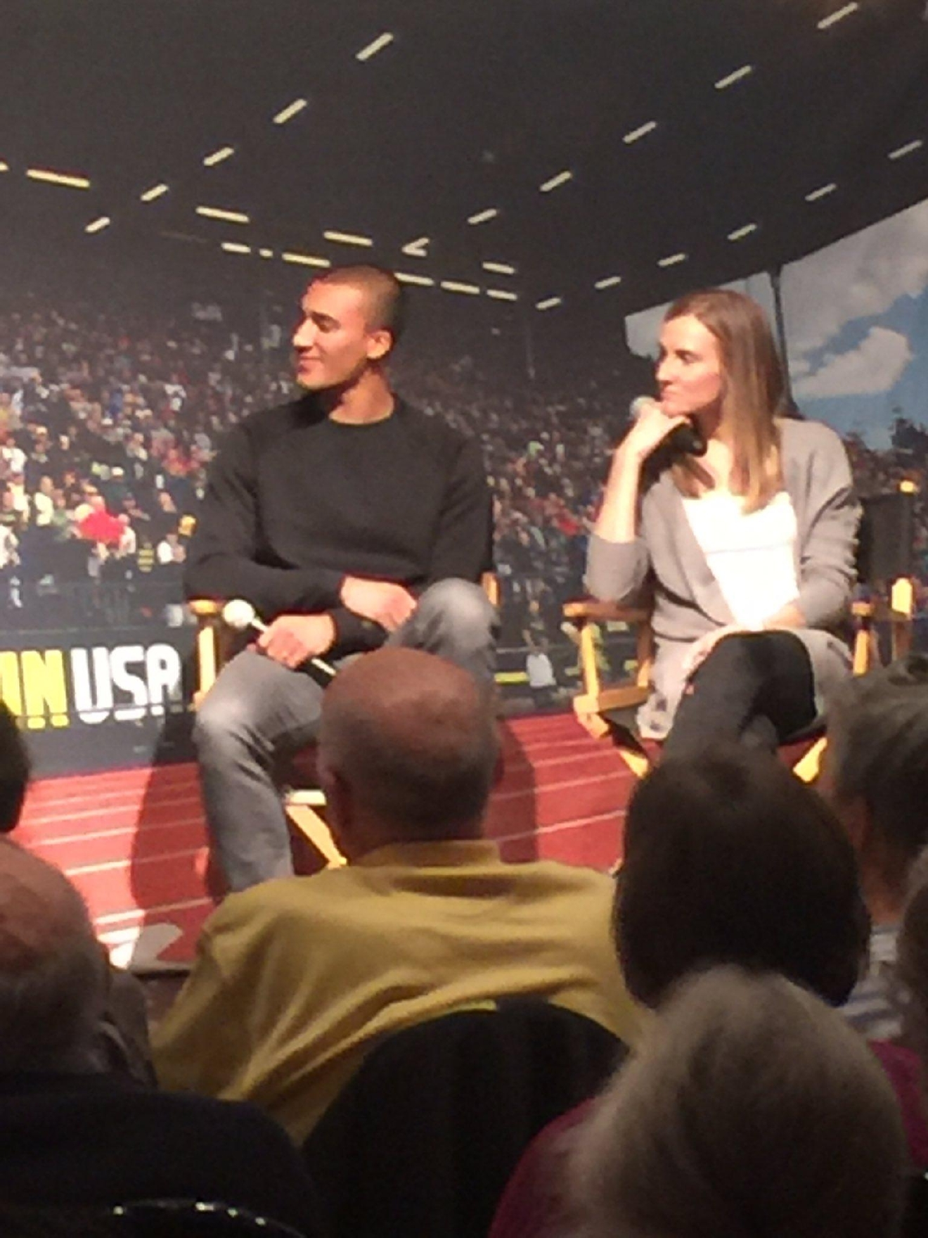 Ashton Eaton and Brianne Theisen Eaton spoke before a crowd at the Feb. 7, 2017 TrackTown Tuesday event. They discussed their plans now that they're retired from track and field. (SBG photo)
