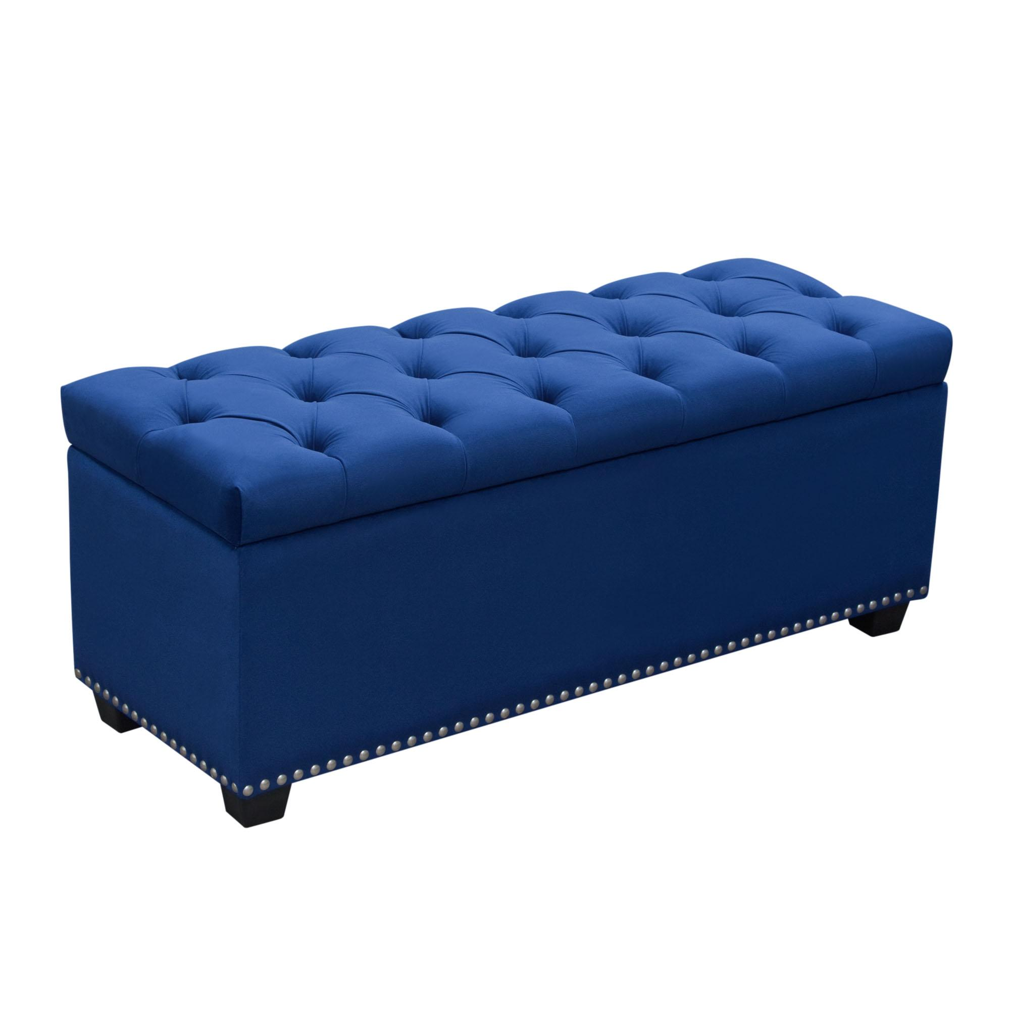 The velvet trend pairs well with this Diamond Sofa trunk perfect for extra storage. (View at bit.ly/Tufted-Trunk)