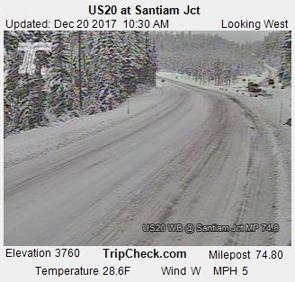 US20 at Santiam Junction on Wednesday, December 20, 2017.