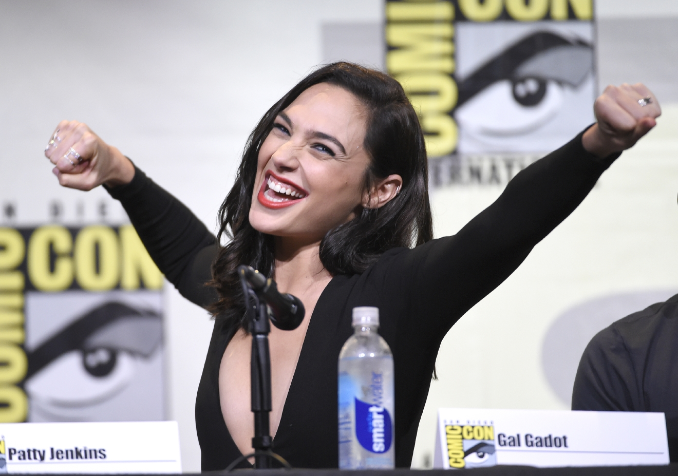 "FILE - In this July 23, 2016, file photo, Gal Gadot makes a Wonder Woman pose at the ""Wonder Woman"" panel on day 3 of Comic-Con International in San Diego. (Photo by Chris Pizzello/Invision/AP, File)"