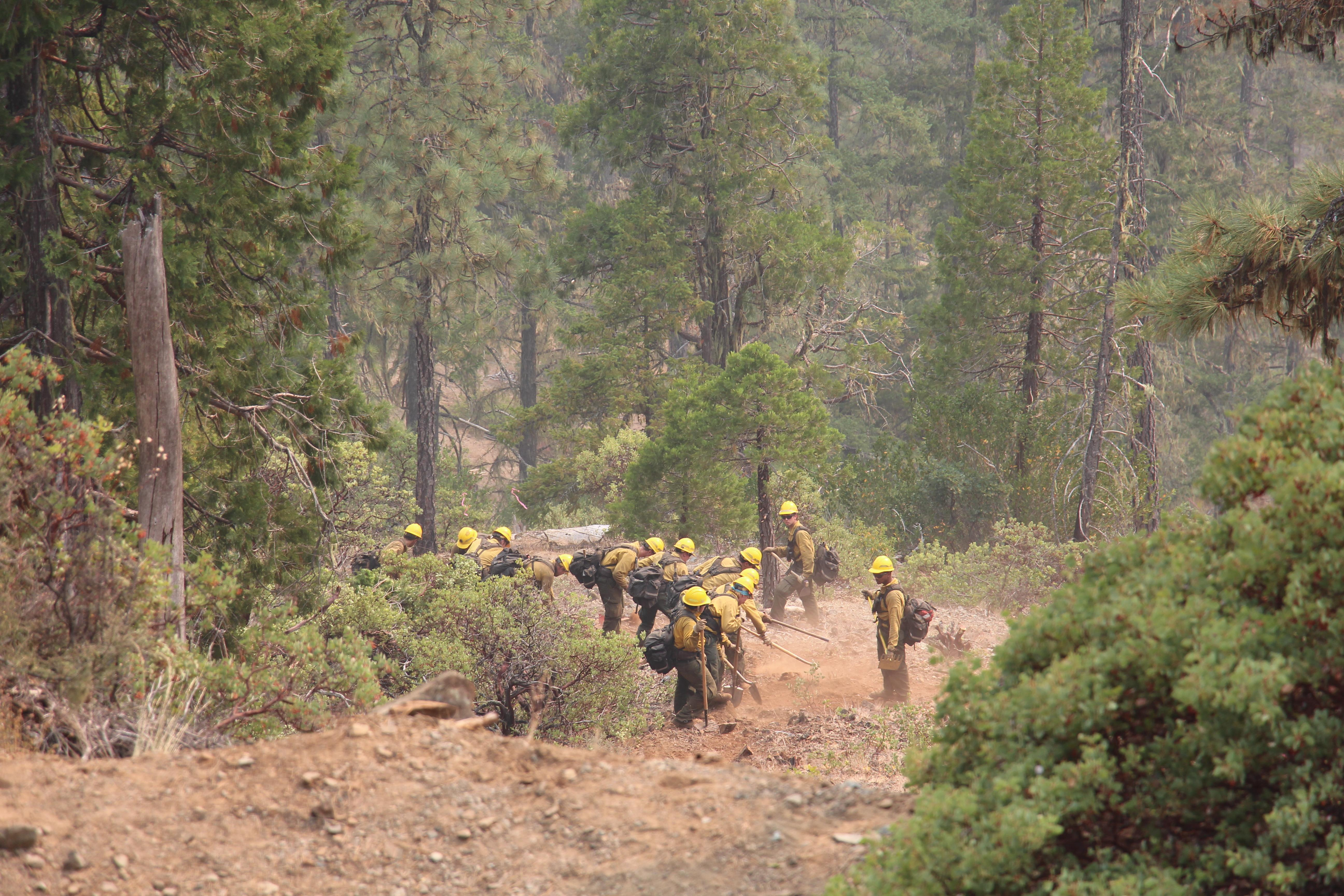 Photo by Annette McGee Rasch<br>Crews work on a firebreak on the Klondike fire.