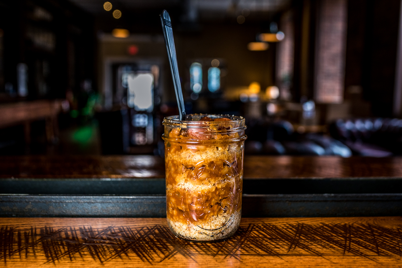 Beanies & Wienies: house made baked beans, Hebrew National dogs, and house cornbread served layered in a mason jar / Image: Catherine Viox // Published: 7.16.20