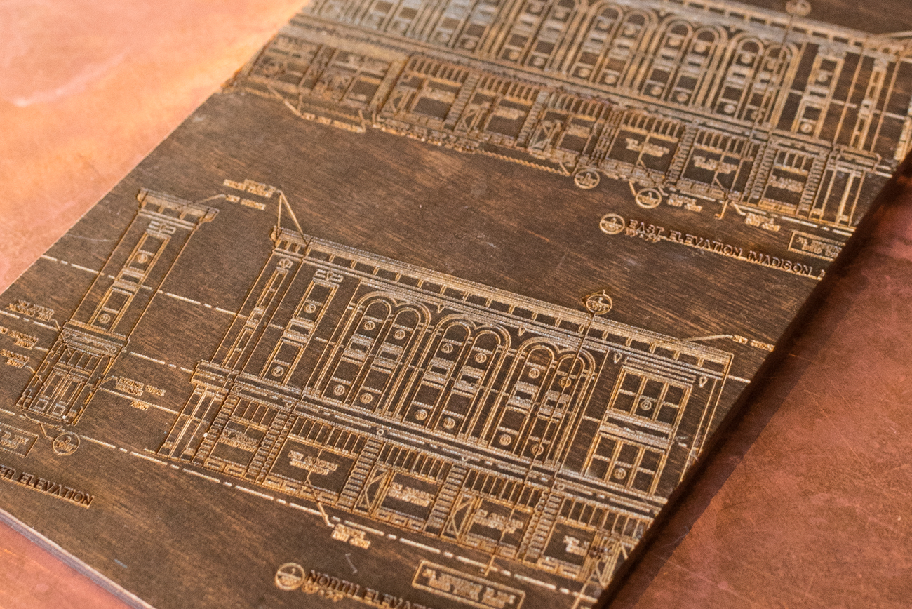 Blueprints of the Mutual Building were laser-etched into the back side of each menu. / Image: Phil Armstrong, Cincinnati Refined / Published: 12.30.16