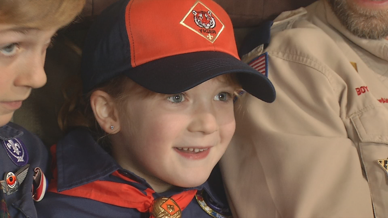 On Tuesday, 6-year-old Asa Smith became the first girl to join the Cub Scouts in Western North Carolina. (WLOS)