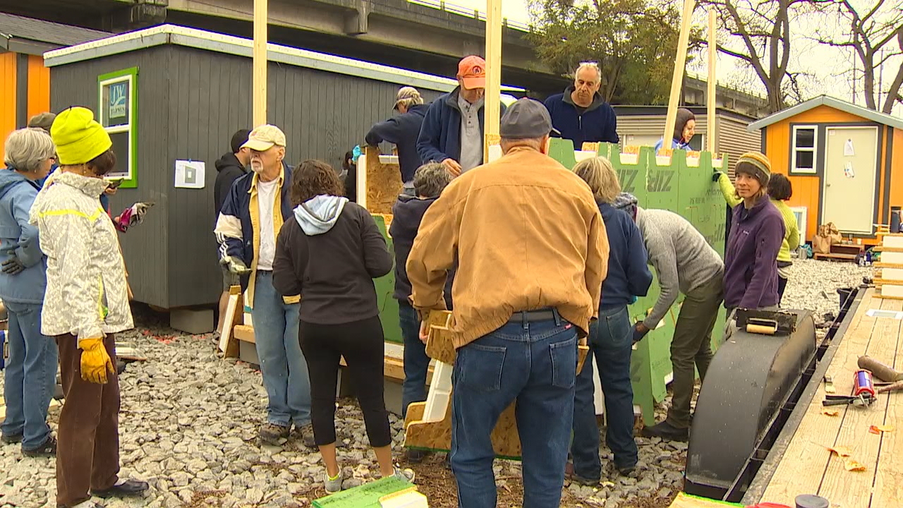 More than 100 volunteers are building new tiny homes in Seattle's Interbay neighborhood to give dozens of homeless people new homes in a few weeks. (KOMO News){&amp;nbsp;}<p></p>