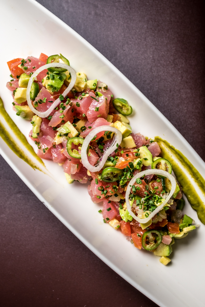 Yellow Fin Tuna Crudo: tomatoes, shallots, avocado, citrus and serrano peppers / Image: Catherine Viox{ }// Published: 1.23.20