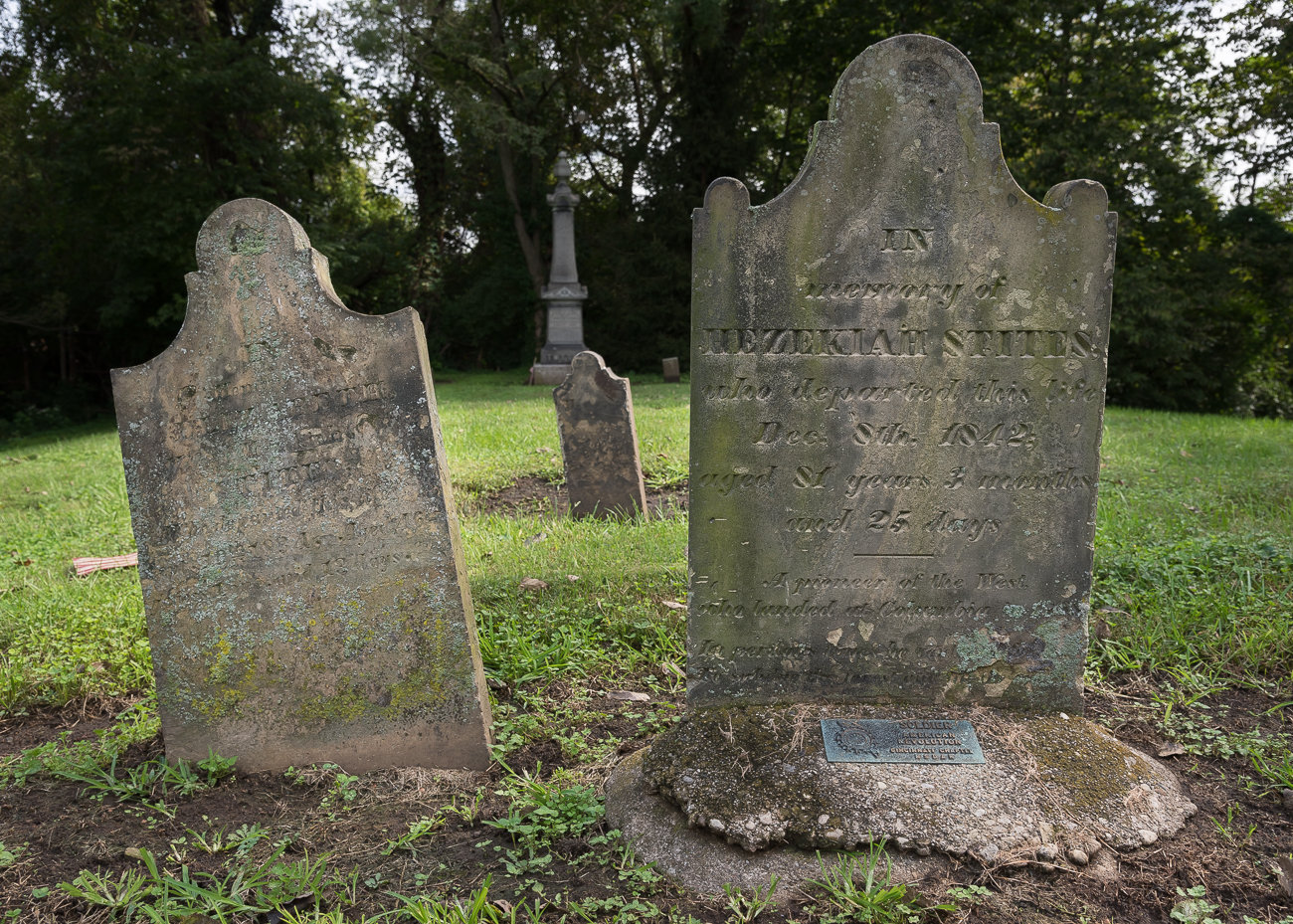 The oldest grave in the cemetery is for a 5-month old named Phebe Stites (died in March, 1797). Many of the grave stones are so eroded and broken, they're unreadable 200 years later. / Image: Phil Armstrong, Cincinnati Refined // Published: 10.3.18<br>