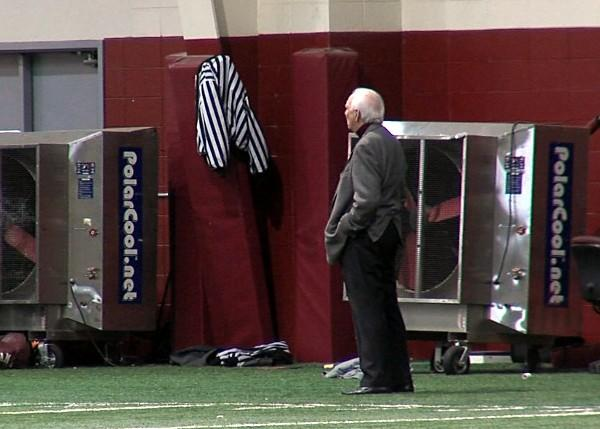 Alabama athletic director Mal Moore was in attendance for the New Year's Day BCS title practice.
