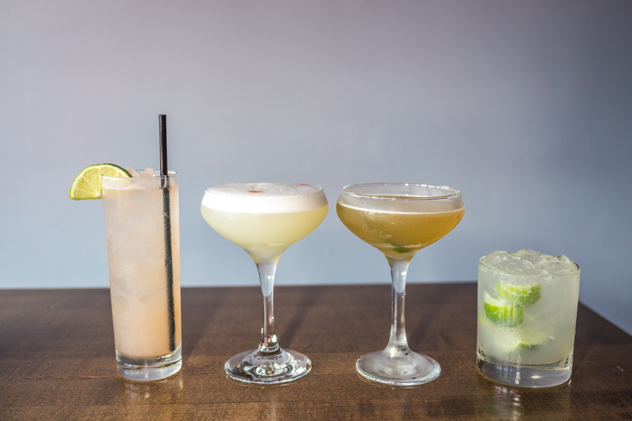 The cocktail lineup: Paloma, Pisco Sour, Pineapple Daiquiri, and the{ }Caipirinha / Image: Catherine Viox{ }// Published: 6.12.19