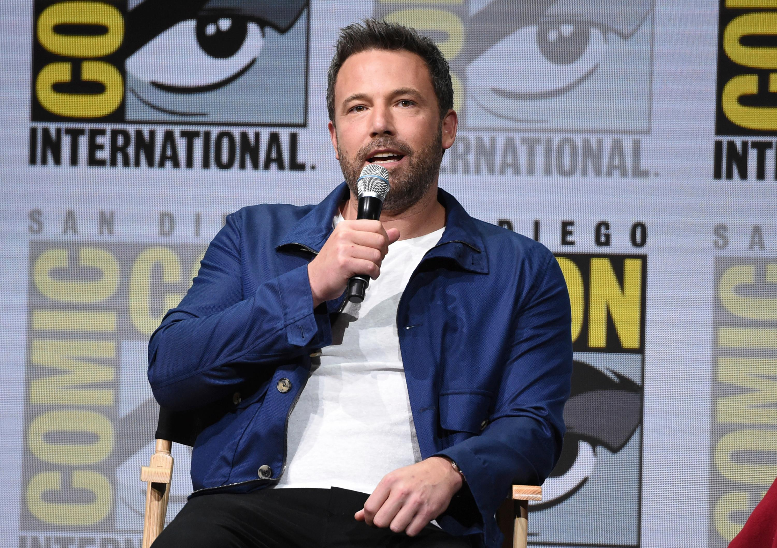 "Ben Affleck speaks at the Warner Bros. ""Justice League"" panel on day three of Comic-Con International on Saturday, July 22, 2017, in San Diego. (Photo by Richard Shotwell/Invision/AP)"