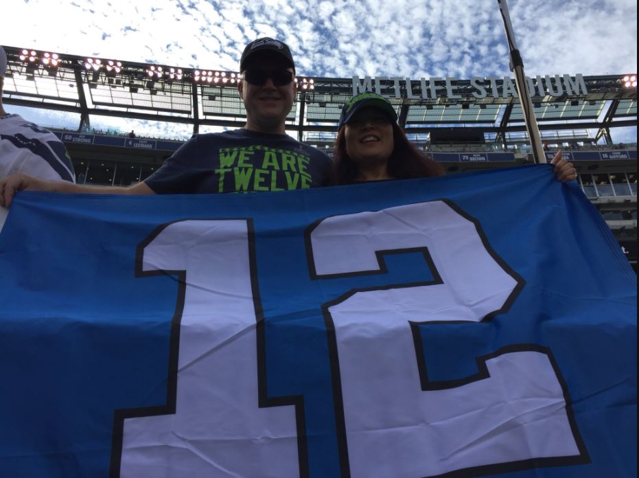 Seahawks fans show their support Sunday at MetLife Stadium in New Jersey for Seahawks vs. NY Giants. (KOMO News)